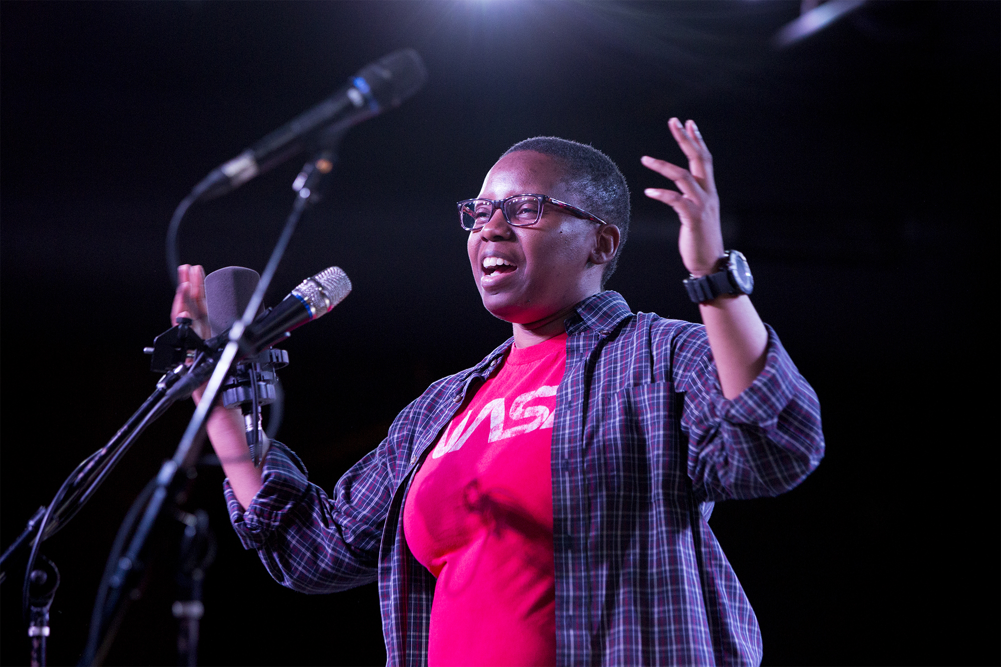 LaShana Lewis shares her story at the Ready Room in St. Louis. Photo by David Kovaluk