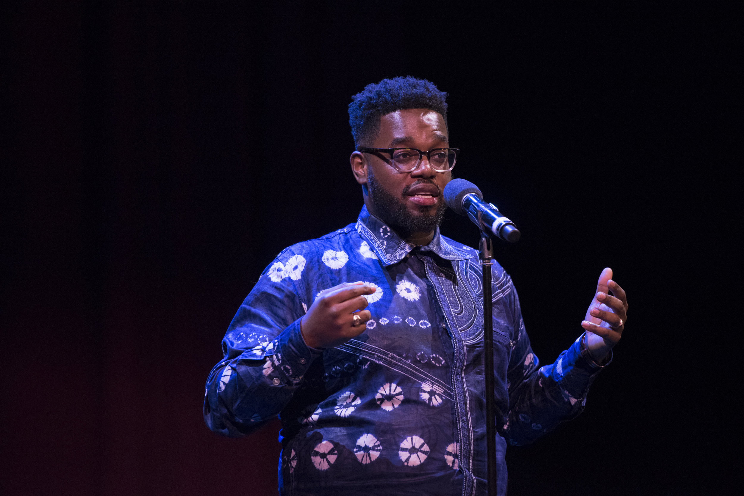 Ralph Bouquet shares his story at a Story Collider show at Oberon Theatre in Cambridge, MA in October, 2018. Photo by Kate Flock.