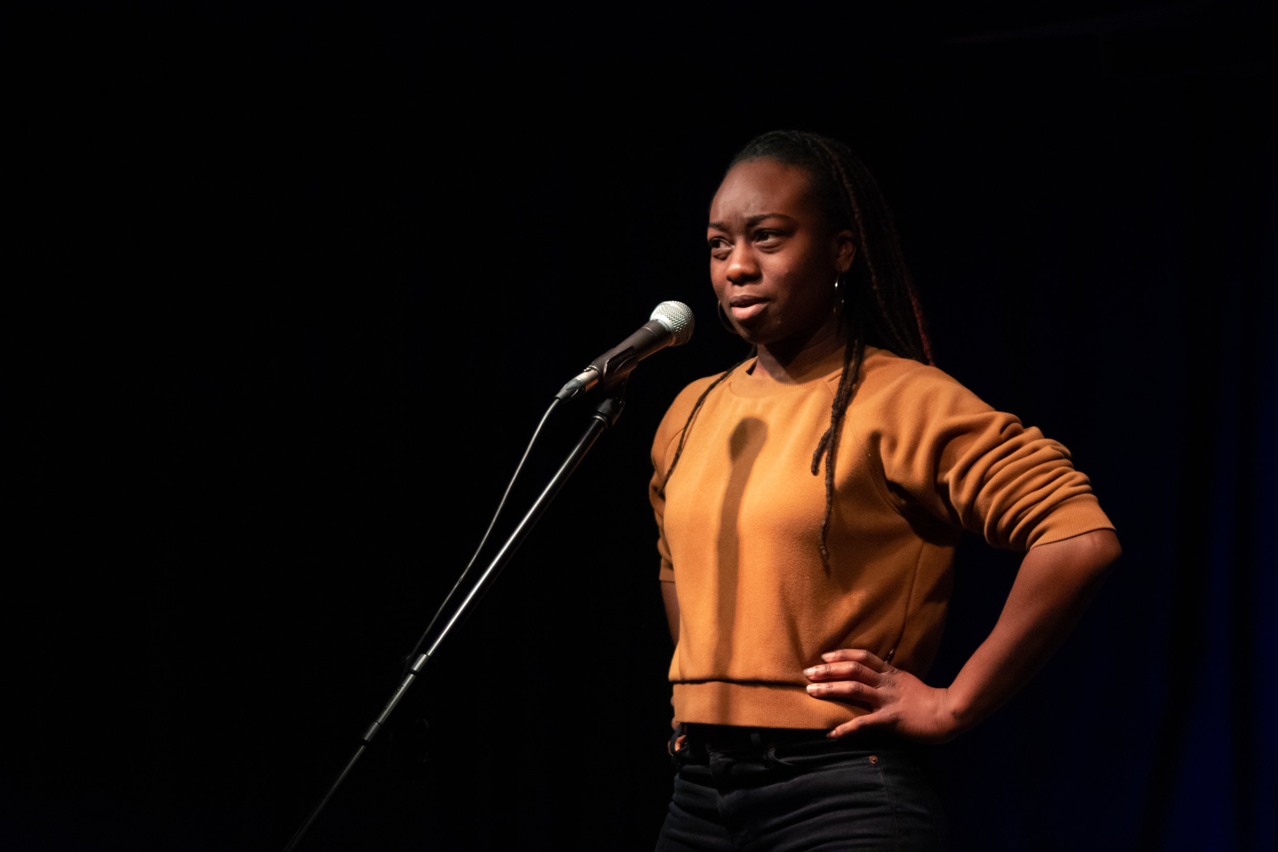 Eugenia Duodu shares her story at the Burdock Music Hall in Toronto, ON in January 2019. Photo by Stacey McDonald.