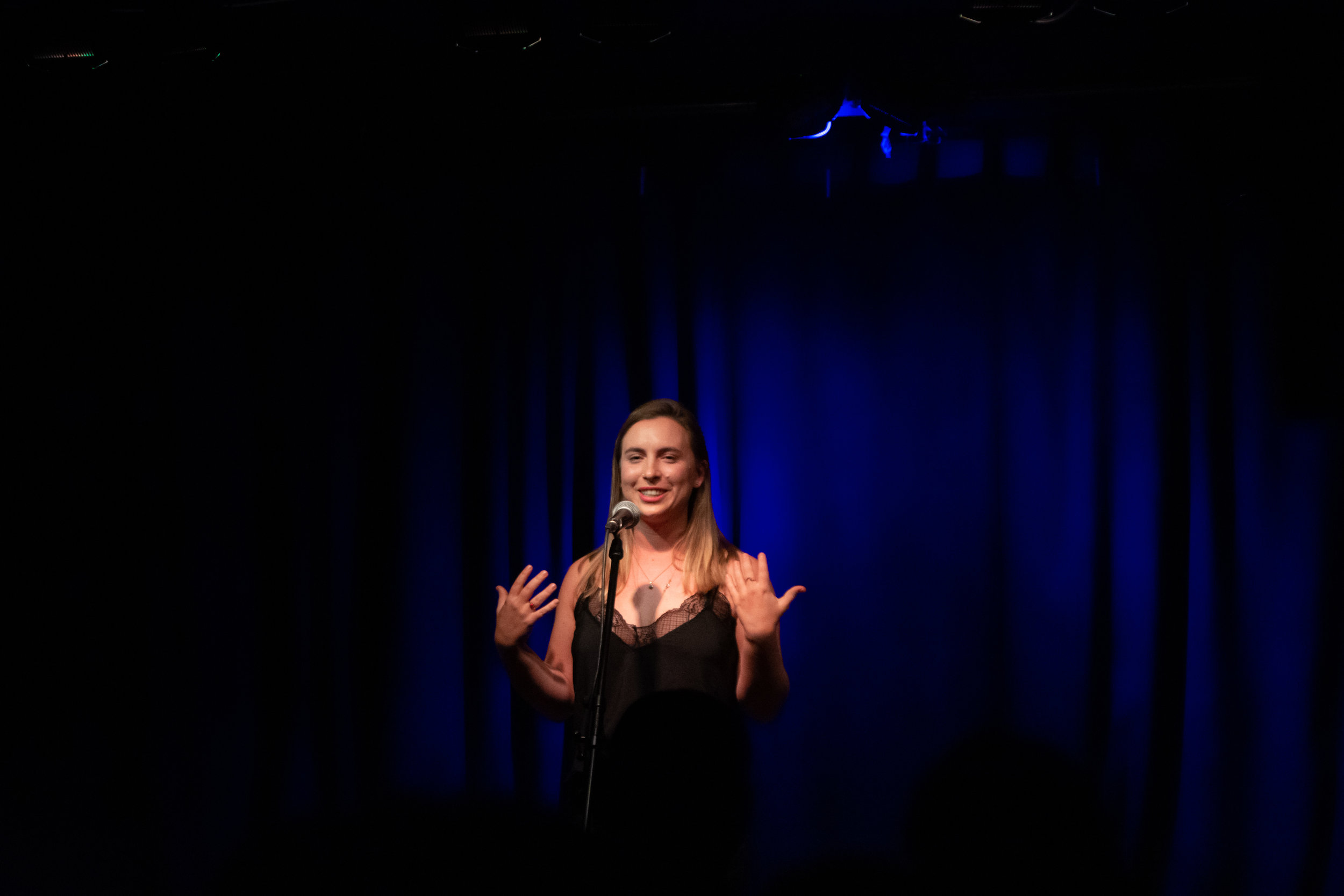 Misha Gajewski shares her story at the Burdock Music Hall in Toronto, ON in January 2019. Photo by Stacey McDonald.