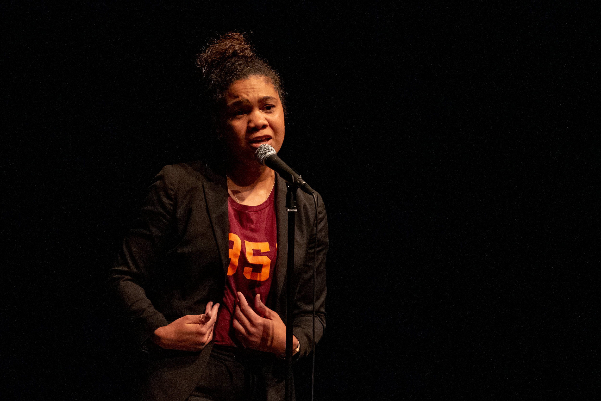 Chivonne Battle shares her story with us at a show sponsored by Virginia Tech in Blacksburg, VA in March 2019. Photo by Courtney Tolley.