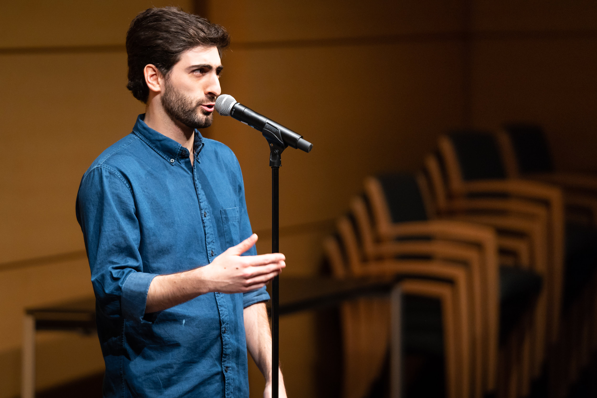 Gabriel Duran Rehbein shares his story with an audience at Memorial Sloan Kettering as part of a show done in partnership with them in December 2018. Photo by Zhen Qin.