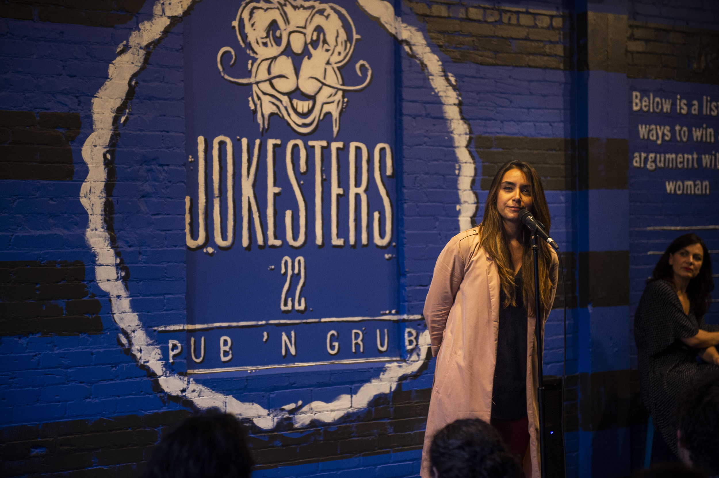 Minerva Contreras shares her story with our audience in Jokesters 22 in San Antonio, TX as part of a show done in collaboration with SACNAS (Society for Advancement of Chicanos/Hispanics and Native Americans in Science) in October 2018. Photo by Lisa Helfert.