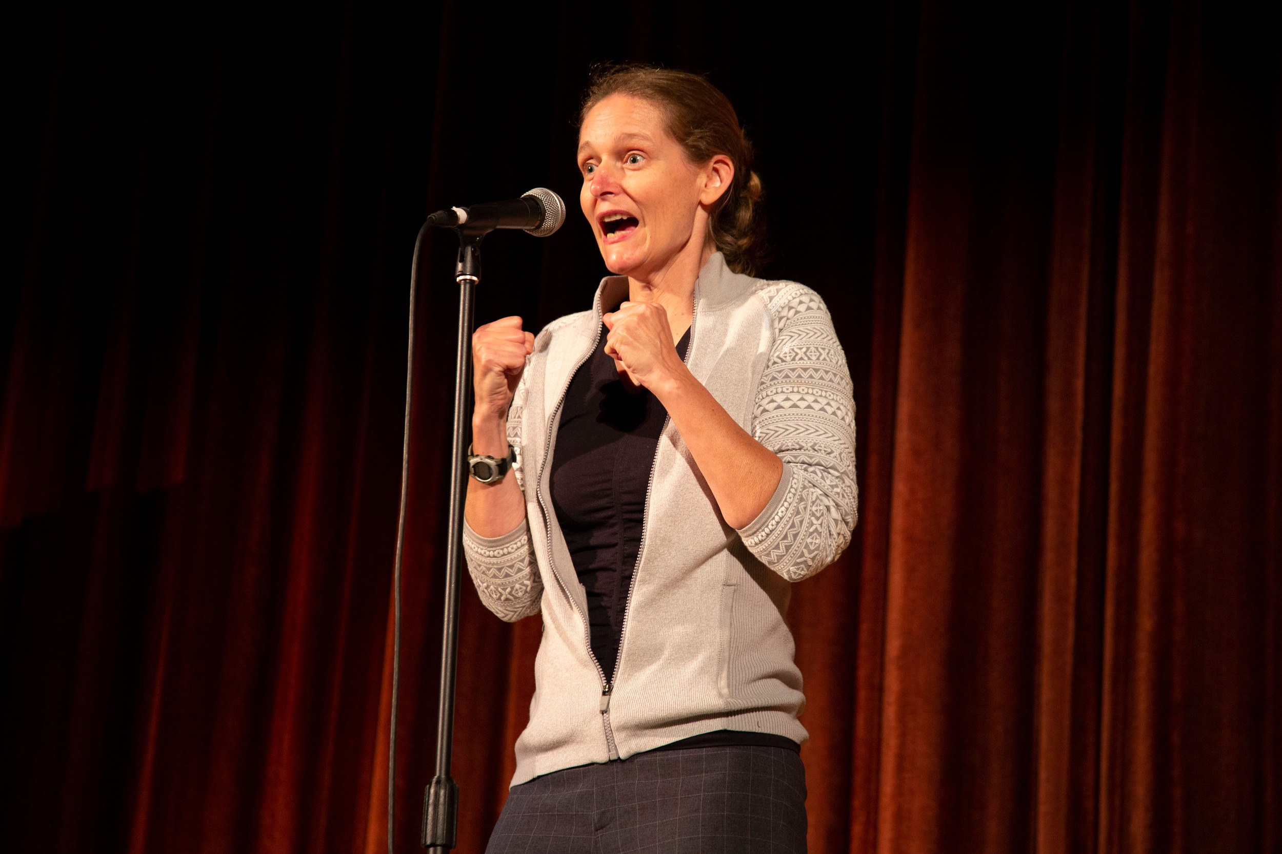 Heather Hamlin shares her story with our Story Collider audience at the Criterion Theater in Bar Harbor, ME in September 2018 as part of Maine Science Festival. Photo by Mike Perlman.