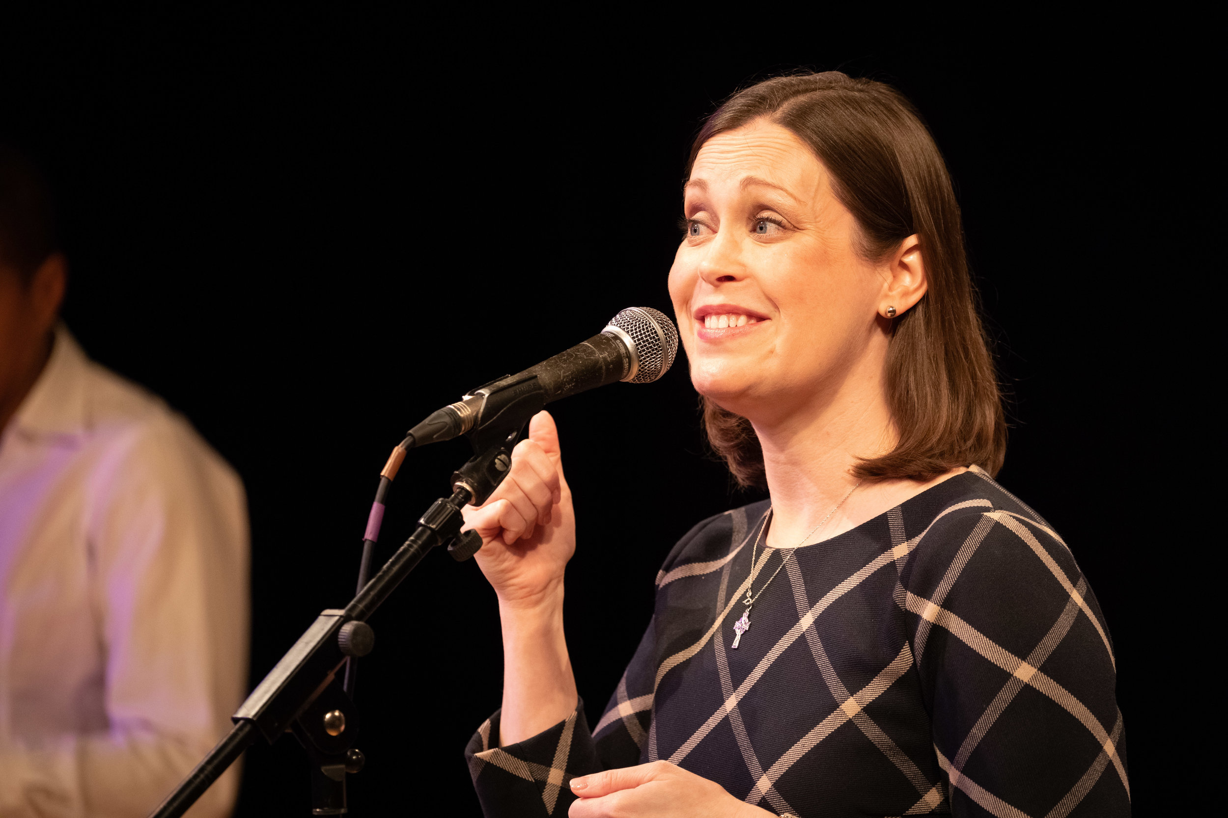 Sarah Brady shares her story with our audience at J3 at Cambridge Junction in February 2019. Photo by Mark Danson.