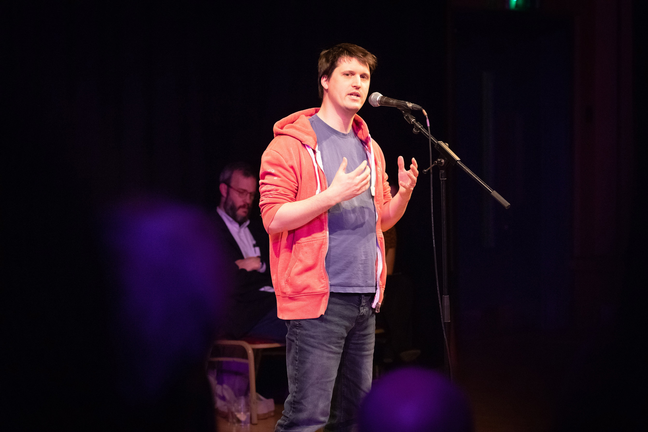 Andrew Holding shares his story with the Story Collider audience at J3 at Cambridge Junction in Cambridge, UK in February 2019. Photo by Mark Danson.