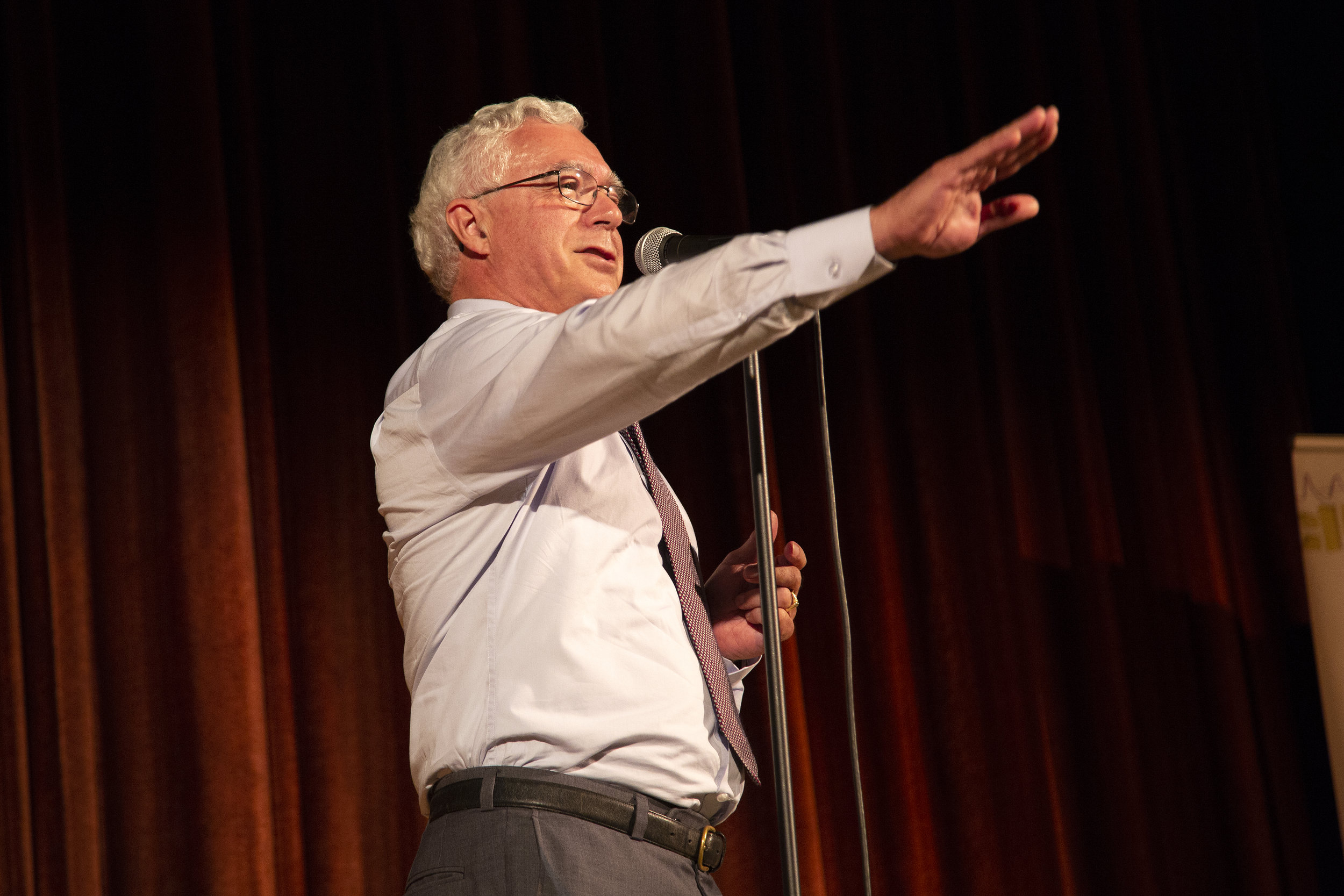 Dana Strout shares his story with the Story Collider audience at The Criterion Theater in Bar Harbor, ME in September 2018. Photo by Mike Perlman.