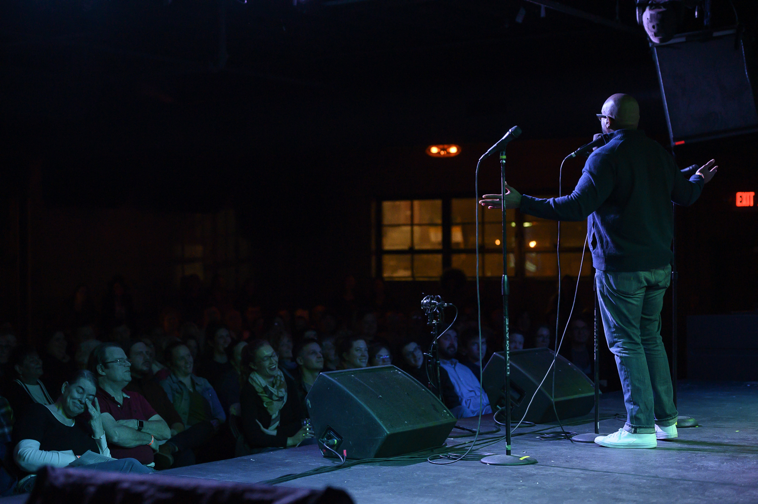 Kenny Kinds shares his story with the Story Collider audience at the Ready Room in St. Louis, MO in March 2019. Photo by David Kovaluk.