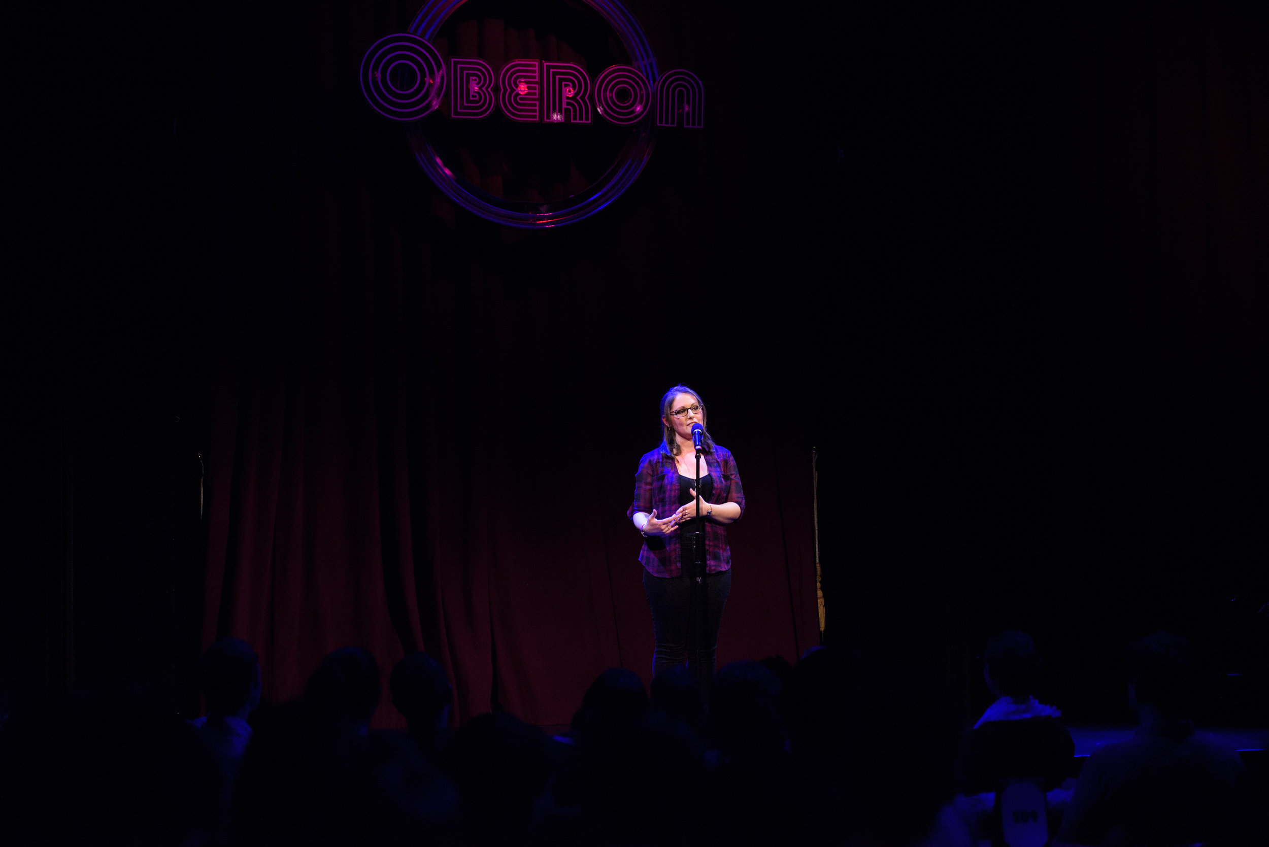 Brianna Shaughnessy shares her story with the Story Collider audience at the Oberon in Boston, MA in February 2019. Photo by Kate Flock.