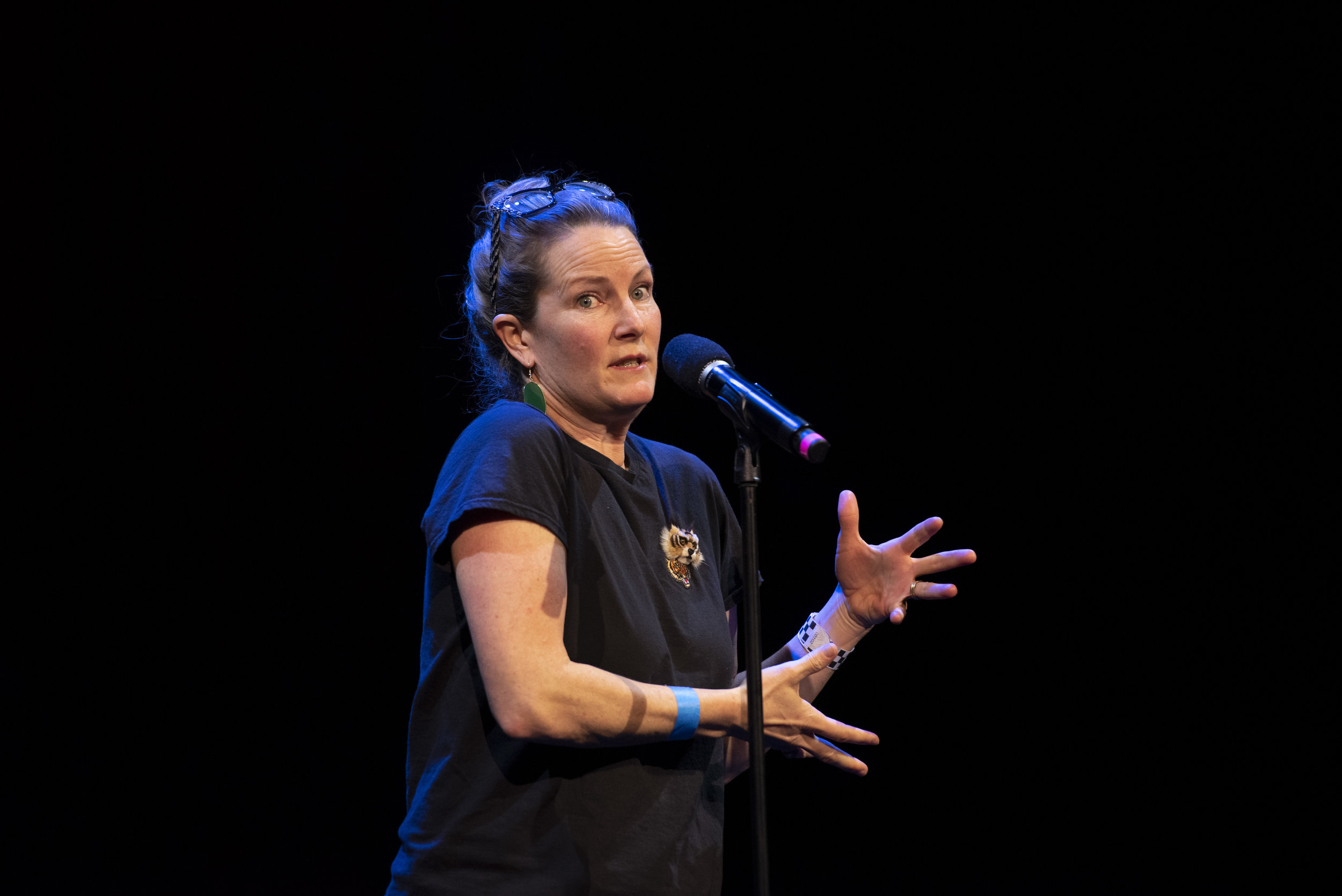 Sara Sweet shares her story on the Story Collider stage at Oberon Theater in Boston, MA in April 2019. Photo by Kate Flock.