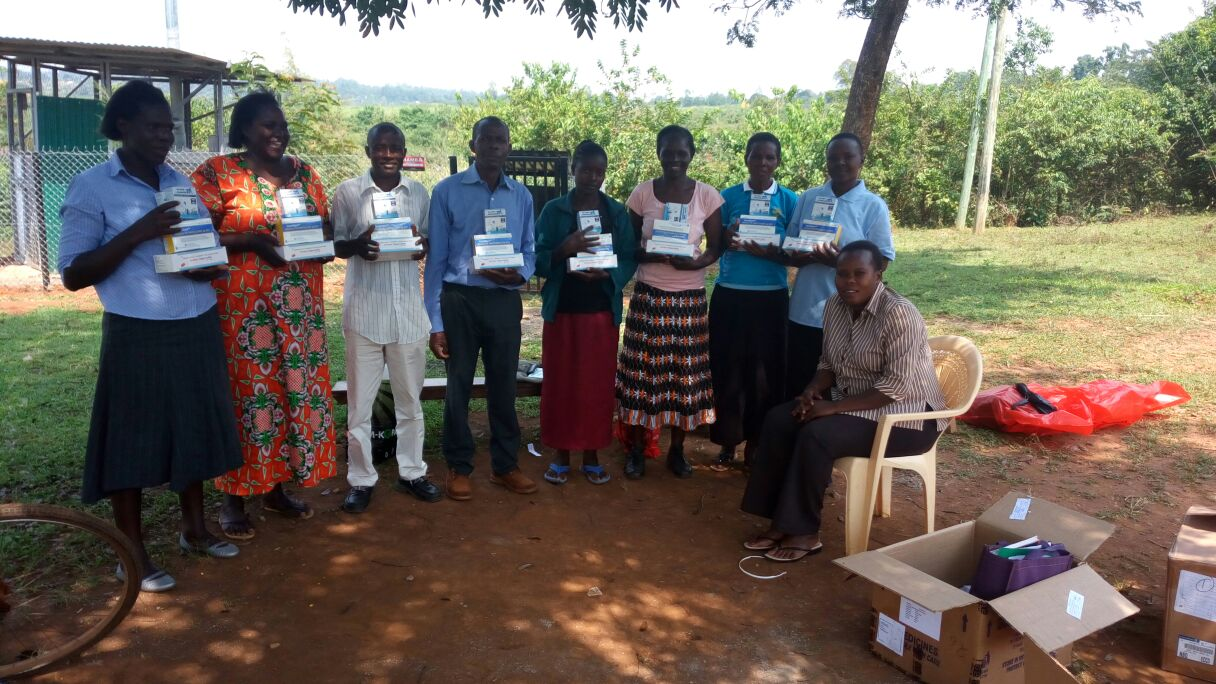 Community Health Workers receive drugs to treat malaria.