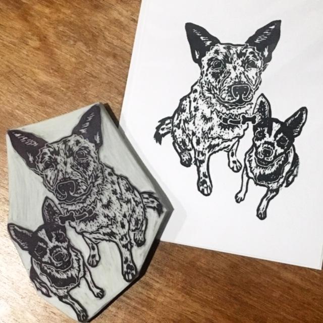 Block Print Pet Portrait