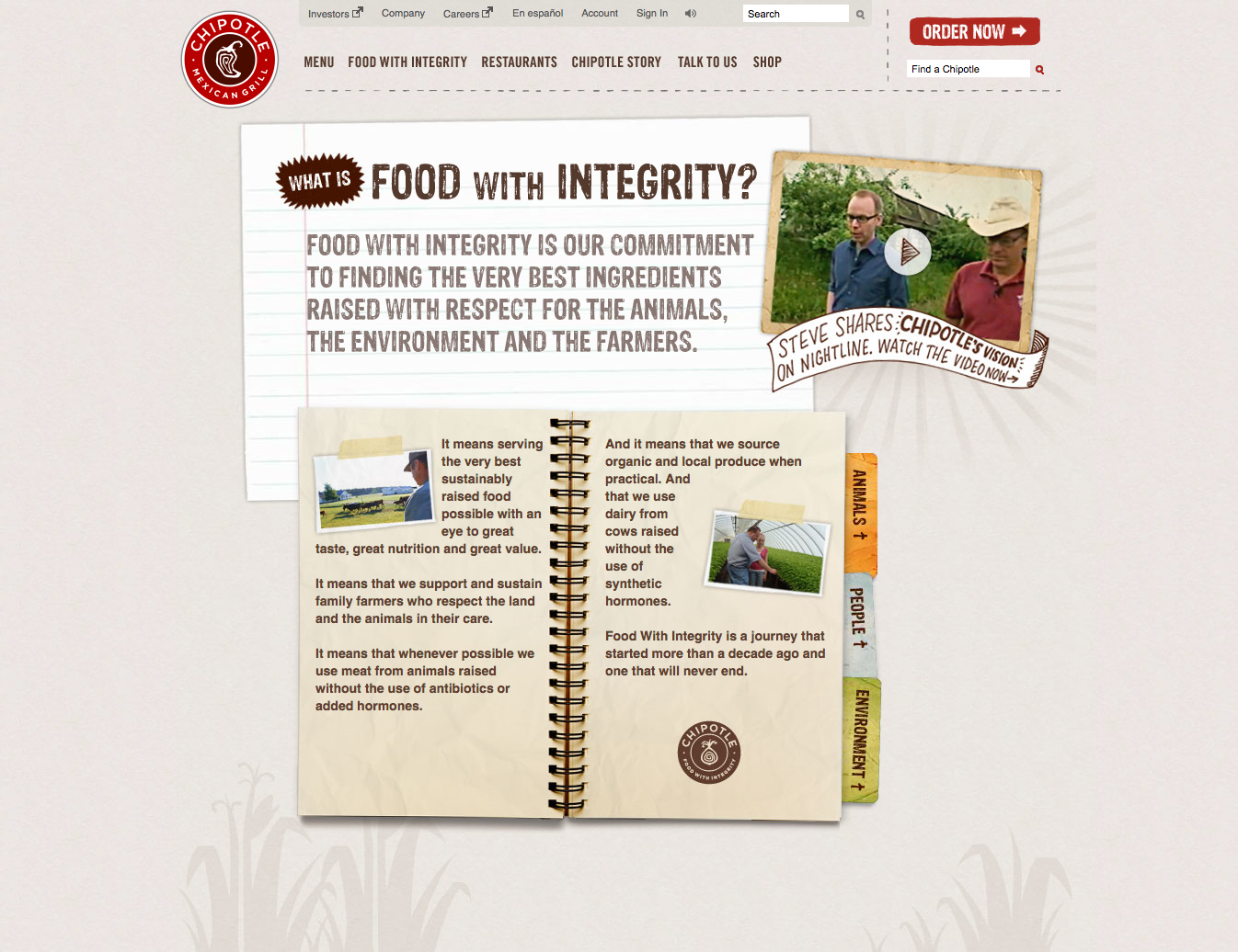 Chipotle's Food With Integrity page before I got my hands on it.