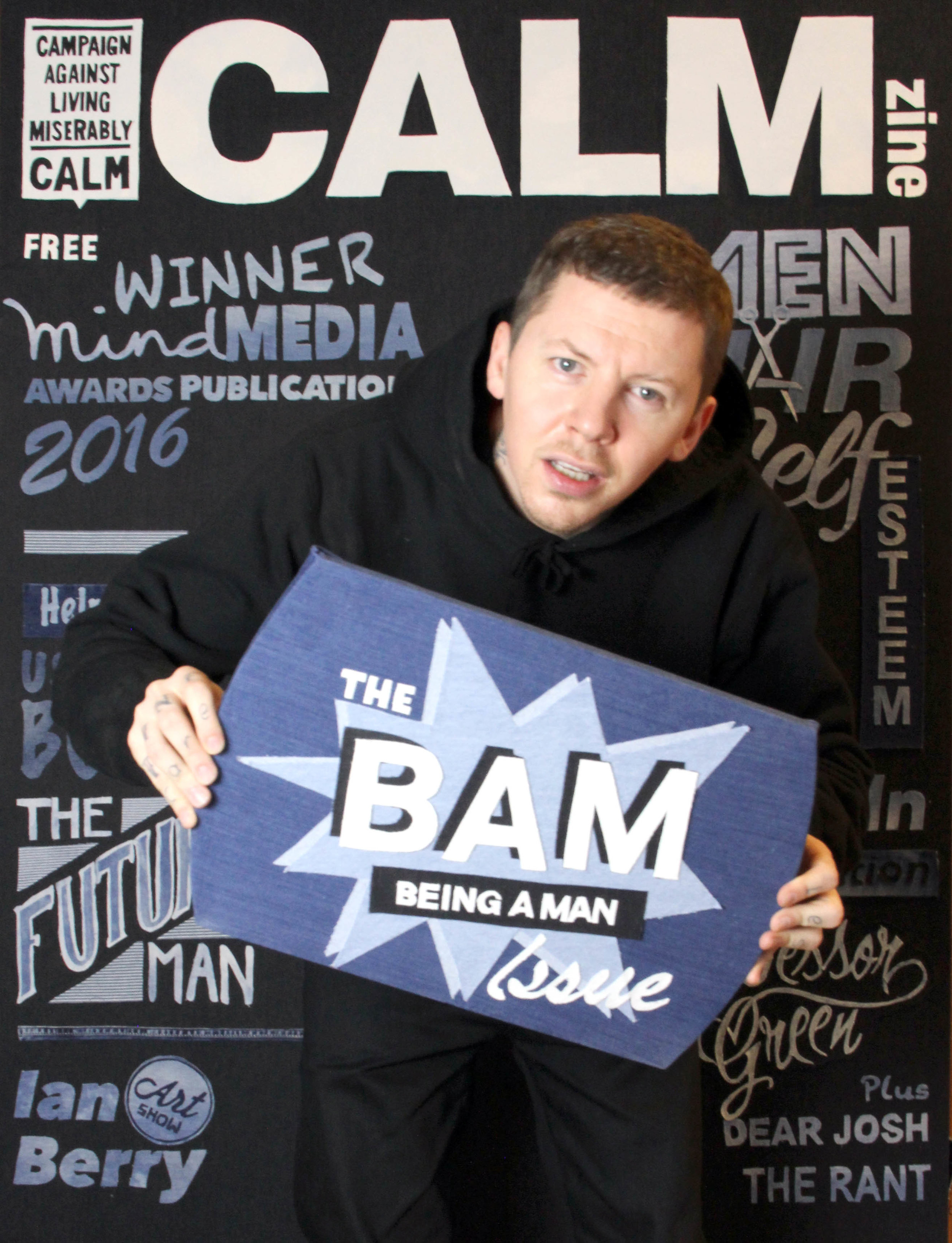 Professor Green on one of the covers of Calmzine