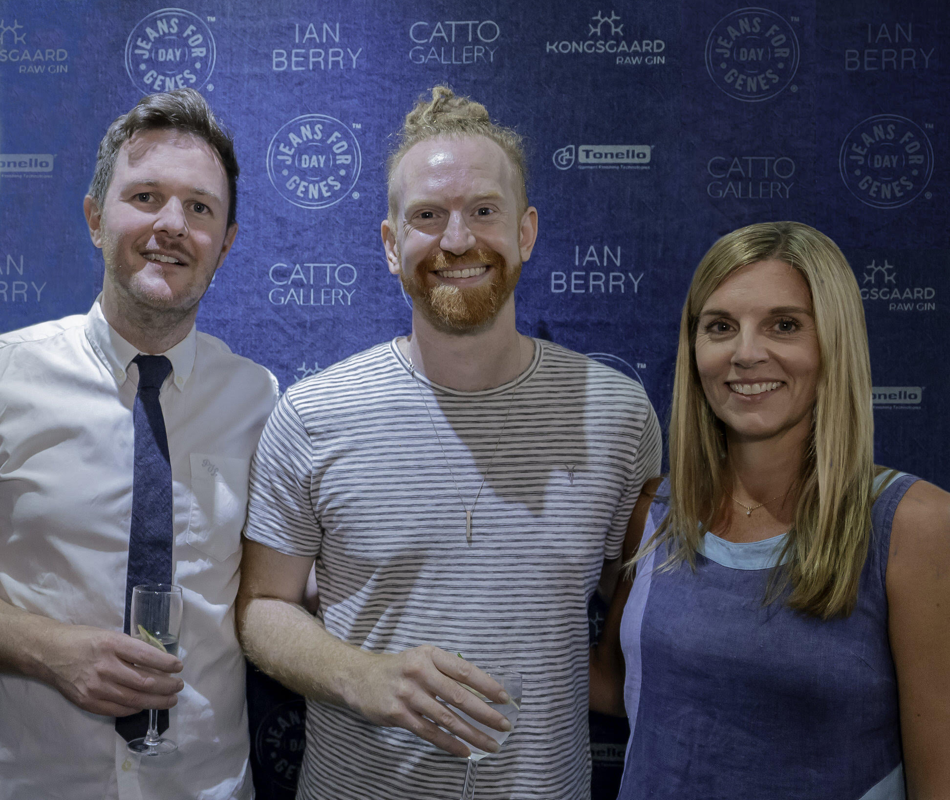 Ian Berry with Newton Faulkner and Laura Pattison of Jeans for Genes at an event in their honour at Catto Gallery