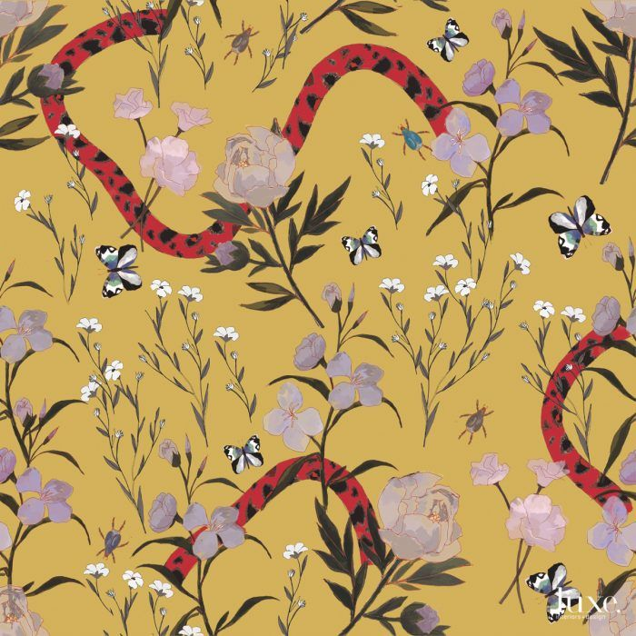 Flower and Serpent Wallpaper in Marigold / Price upon request /  brettdesigninc.com .