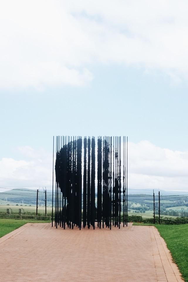 Famous Mandela sculpture at his capture site.