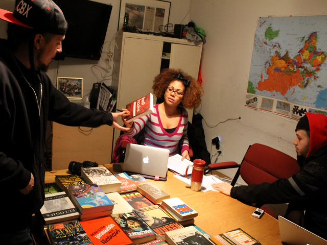 """Got a Girl Crush On: Bronx Hip-Hop Collective to launch a 'Radical' library for youth       MOTT HAVEN (South Bronx) — Rappers feed off great beats, but they're nourished by great books.   That's one message the hip-hop-centric Rebel Diaz Arts Collective hopes to convey to local youth with a community library they will soon run out of their headquarters in a former candy factory by the Bruckner Expressway.   """"I tell them, 'The more you read, the iller you'll be as an emcee,'"""" said Rodrigo Venegas, aka Rodstarz, one-third of the rap crew, Rebel Diaz, and a founding member of the cultural collective with an activist bent.   The roughly 20-member collective has partnered with Bluestockings , the independent Lower East Side bookstore, to amass about 300 mostly donated books on radical politics, Hispanic and black history and hip hop.     Read more: http://www.dnainfo.com/new-york/20130205/mott-haven/bronx-hip-hop-collective-launch-radical-library-for-youth#ixzz2KG03anOL       Awesome project!   (via capitalnewyork  :  hiphopeducation )"""