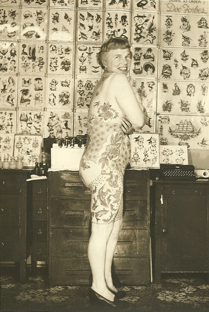Got a Girl Crush On: Elizabeth Weinzirl     A doctor's wife who began getting tattooed at forty-seven, she was one of the first women to collect and show her tattoos recreationally.         Read more about the secret history of women and tattoos!