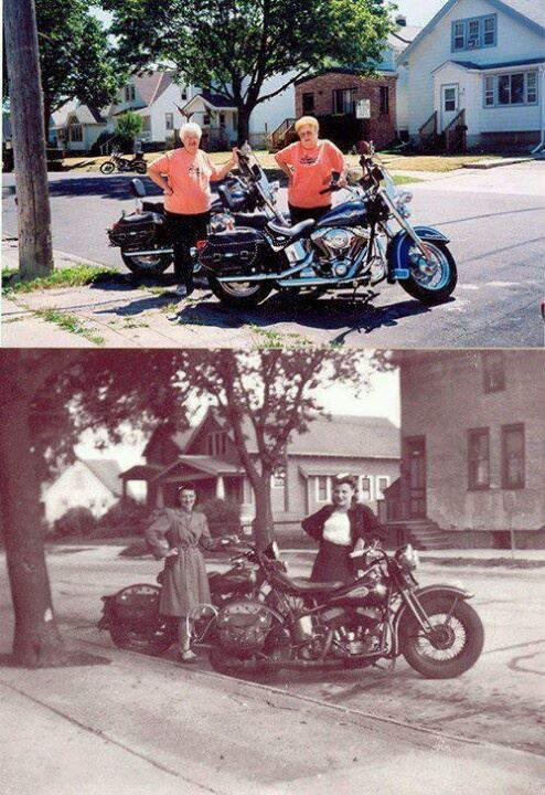 Got a Girl Crush On: Clara Mayer and Adline VanVlanderen of Cudahy, Wisconsin, pose in the 1940s and in 2003    Taking notes…      (via  Steel Cowgirls )
