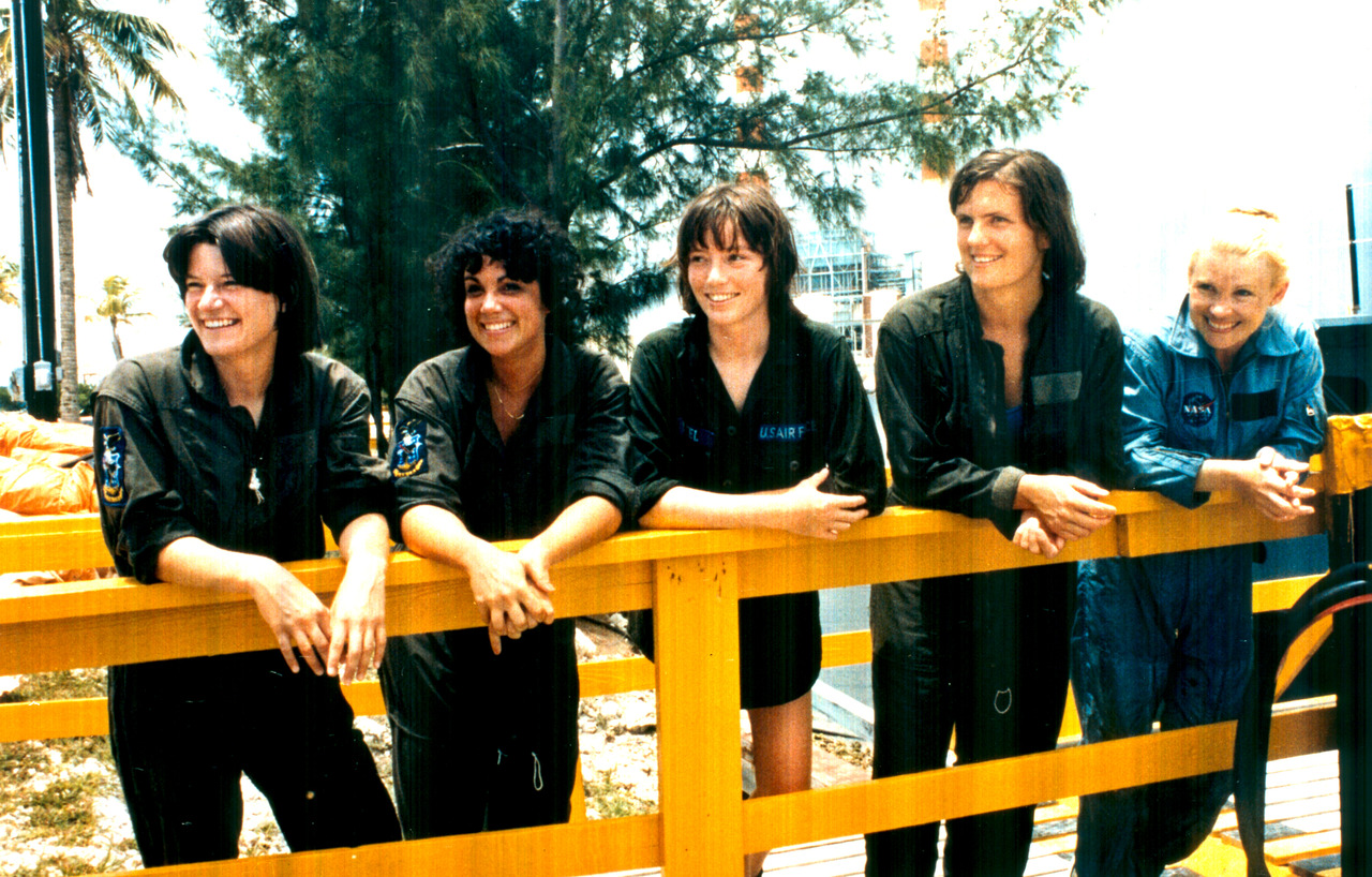 Got A Girl Crush On: The First Cosmic Babes       Taking a break from the various training exercises at a three-day water survival school held near Homestead Air Force Base, Florida, are some of the first female astronaut candidates in the U.S. space program. Left to right are Sally K. Ride, Judith A. Resnik, Anna L. Fisher, Kathryn D. Sullivan and Rhea Seddon.