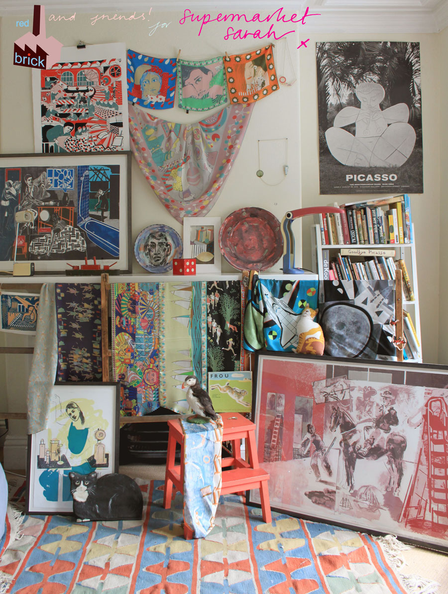 "Got a girl crush on:  Supermarket Sarah     Totally diggin' Supermarket Sarah's (Sarah Bagner) latest wall. We featured her back in  2009  and  2010 , and she's still going at it with her rotating online storefront. Since then, she's brought her ""walls"" to popular bars, galleries, shopfronts and even Selfridges. And next month, she's coming out with the book  ""Wonder Walls, Supermarket Sarah's Guide to Display""  (available for pre-order!)."