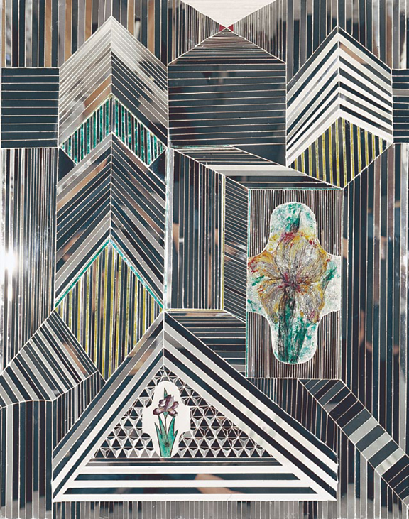 Got a Girl Crush On:  Monir Farmanfarmaian 's Cosmic Geometry      Pictured: Irises, 1973, old and new mirror, reverse-glass painting, and plaster on wood, 47 1/5 in. x 31 ½ in.     A contemporary of Frank Stella and de Kooning, the 87-year-old Iranian is still creating amazing work with broken glasses and mirrors!   (via  youngna :  Paris Review )