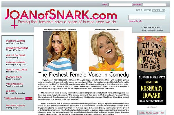 "Got A Girl Crush On :  30 Rock      ""Joan of Snark dot com–It's this really cool feminist website where women talk about how far we've come and which celebrities have the worst beach bodies– Ruth Bader Ginsburggg ""      Just always so on point…    mrsmoz :     I love the ad on the right. The whole entire thing is perfect, really."