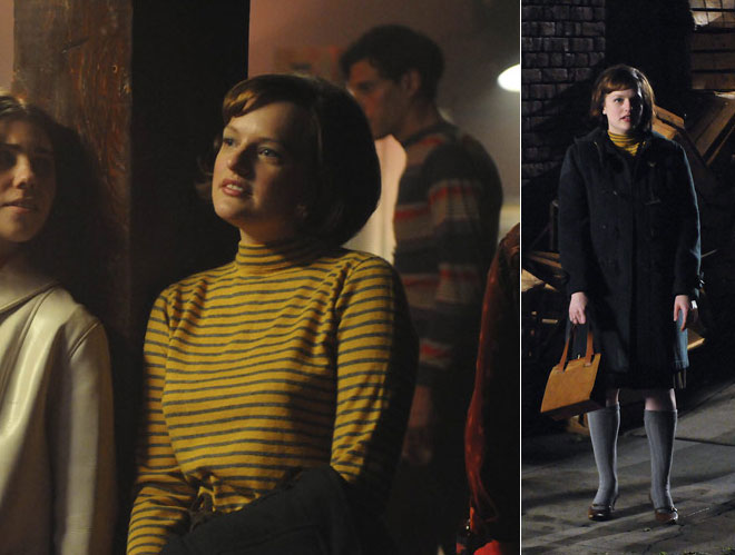 "Got a girl crush on: Peggy Olson from  Mad Men     Lookin'  ""swellegant""  in the last episode of Mad Men. She's totally werkin' that yellow and green striped turtleneck.   (via  Miss Moss )"