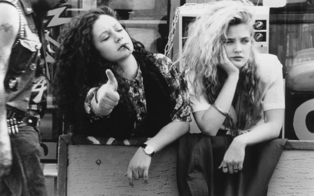 Got A Girl Crush On:  Drew Barrymore & Sarah Gilbert   I'll be frank that I have no idea where this gem is from (update: Poison Ivy–thanks, Steph!), but everything about it hits it for me. The hair. The vest. Even the cigarette. I imagine it's a sneak out of the house night and badger your way backstage kind of night–yet the effortless ennui so perfectly mastered by disaffected adolescents in the 90s makes their badassery  nobigdeal .   Sigh. Oh youth!   (via  5oh7 )