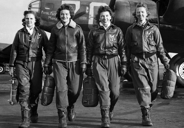 """   WASP (from left) Frances Green, Margaret Kirchner, Ann Waldner and Blanche Osborn leave their B-17, called Pistol Packin' Mama, during ferry training at Lockbourne Army Air Force base in Ohio. They're carrying their parachutes.""      Got a girl crush on: WASP (   Women Airforce Service Pilots)     Amelia Earhart wasn't the only fly girl. Check out  this story on Female WWII pilots  over at NPR.   (via  winesburgohio )"