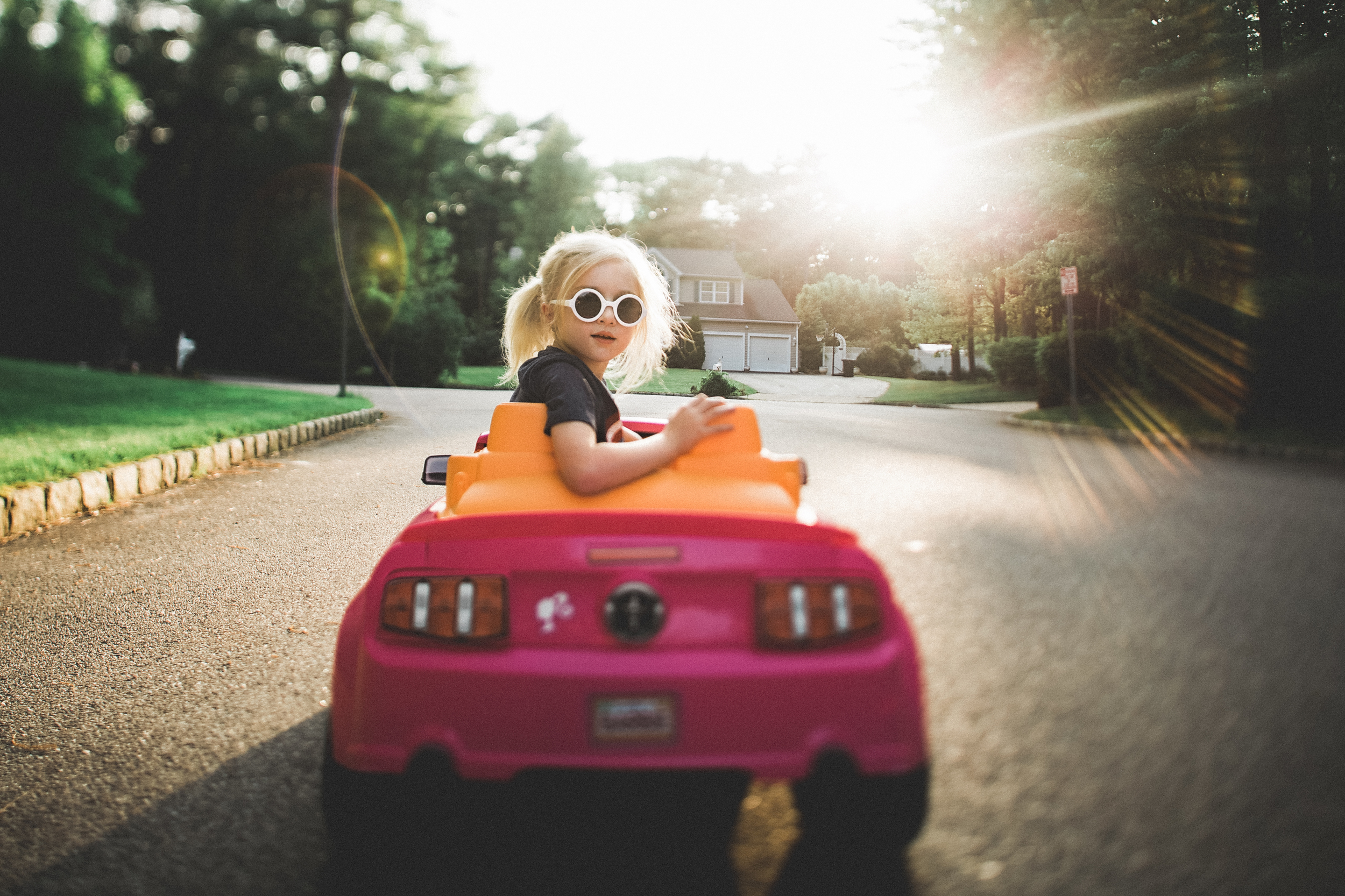 Trips in her car.