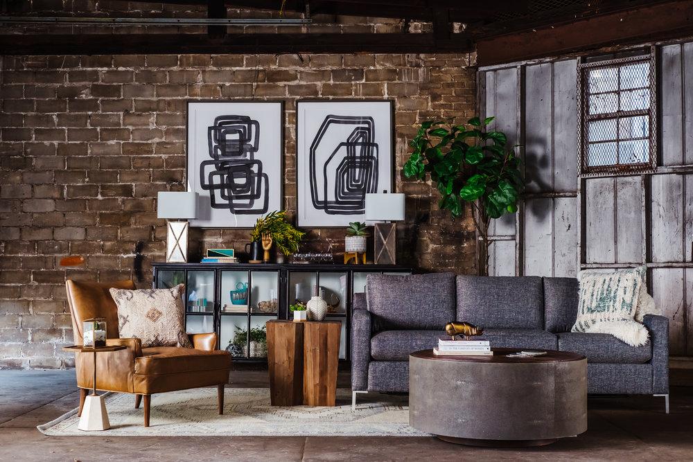 Modern Industrial Living Room Design, Industrial Living Room