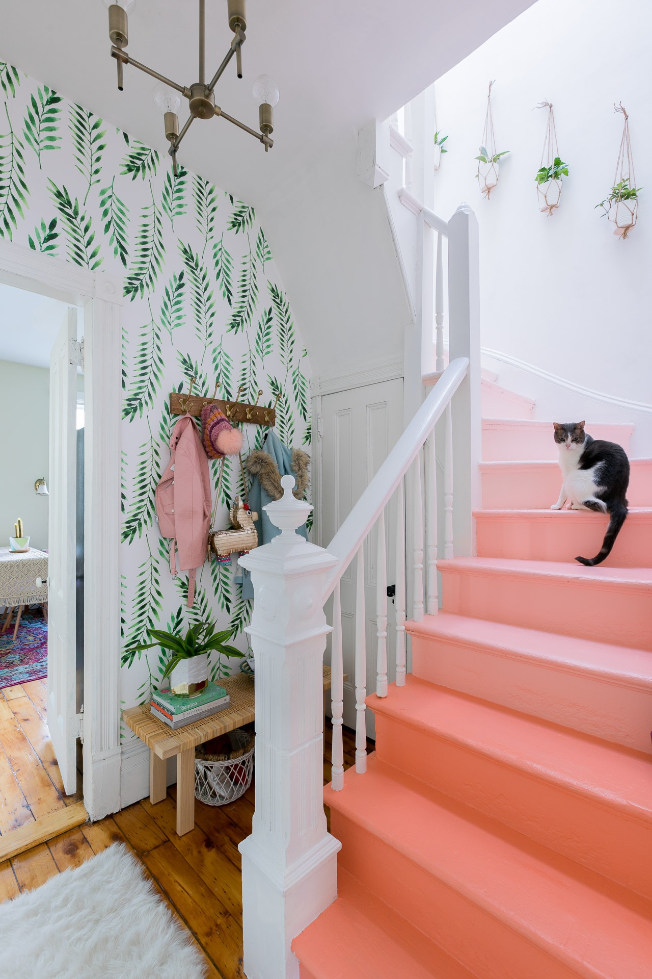 So obsessed with these coral ombre stairs from  Arsenic Lace