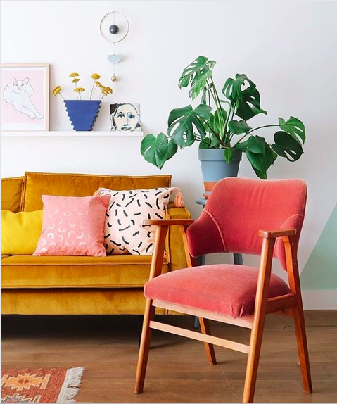 Coral Accent Chair, Image via  @enter_my_attic instagram