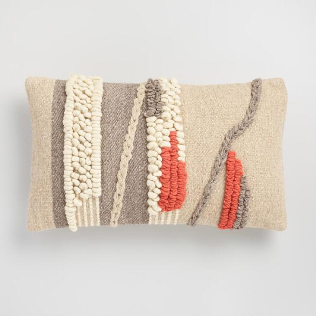 Oversized Desert Textured Woven Lumbar Pillow via World Market