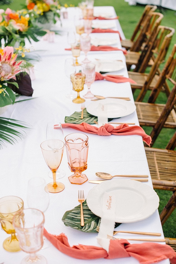 Coral Place Setting Inspiration via  The Wedding Playbook
