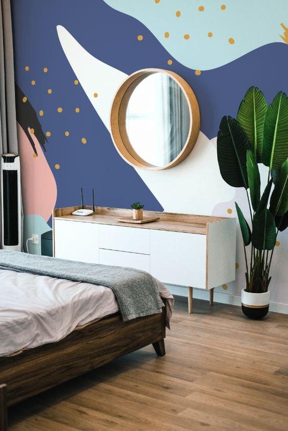 gekleurde kleurvlakken slaapkamer