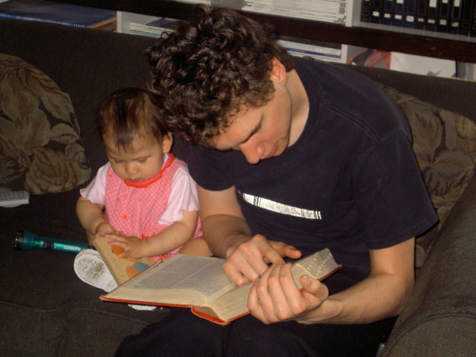 Son Jason reading with Sophia