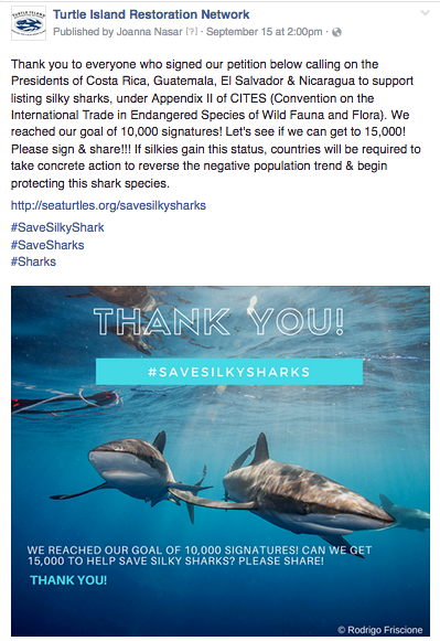 Facebook.  Thank you message to 10,000+ members who signed on to our petition to save silky sharks.