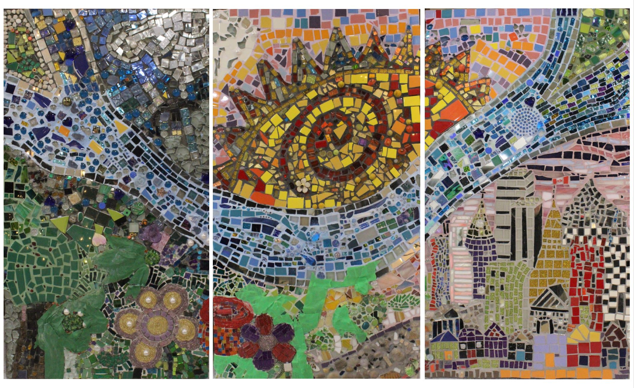 "IMAGE ABOVE:   ""London's Sunny Days"",  Mosaic (Materials: Glass, Mirror, Tiles, Glass Beads, Semi-Precious Stones, Rock, Marble and found objects such as Marbles, Costume Jewelry, and Bottle Caps, mounted on Plywood and WEDI Board), 3 panels measuring 3' x 5"", London, ON, Canada – WORK IN PROGRESS, to be finished in 2019"