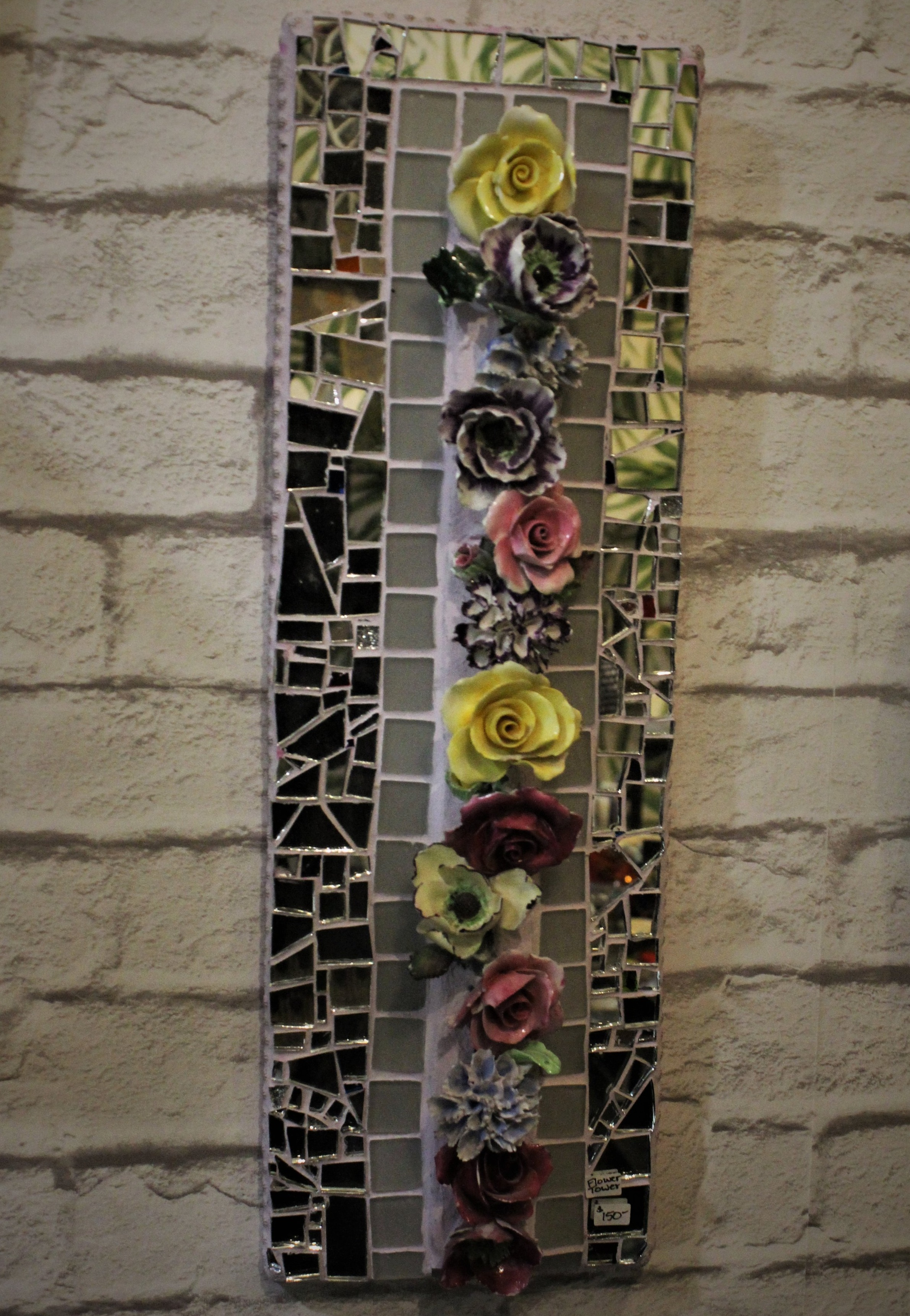 "IMAGE ABOVE:   ""Flower tower"" , Mosaic (Glass, Mirror, Tile, Beads , ceramics, mounted on WEDI Board), 6.5"" x 20.5""', London, ON, Canada,"