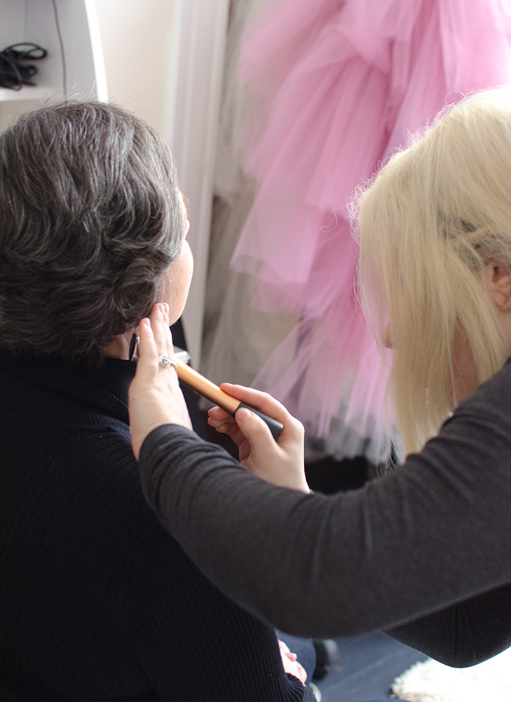 Jane getting ready for her photoshoot.