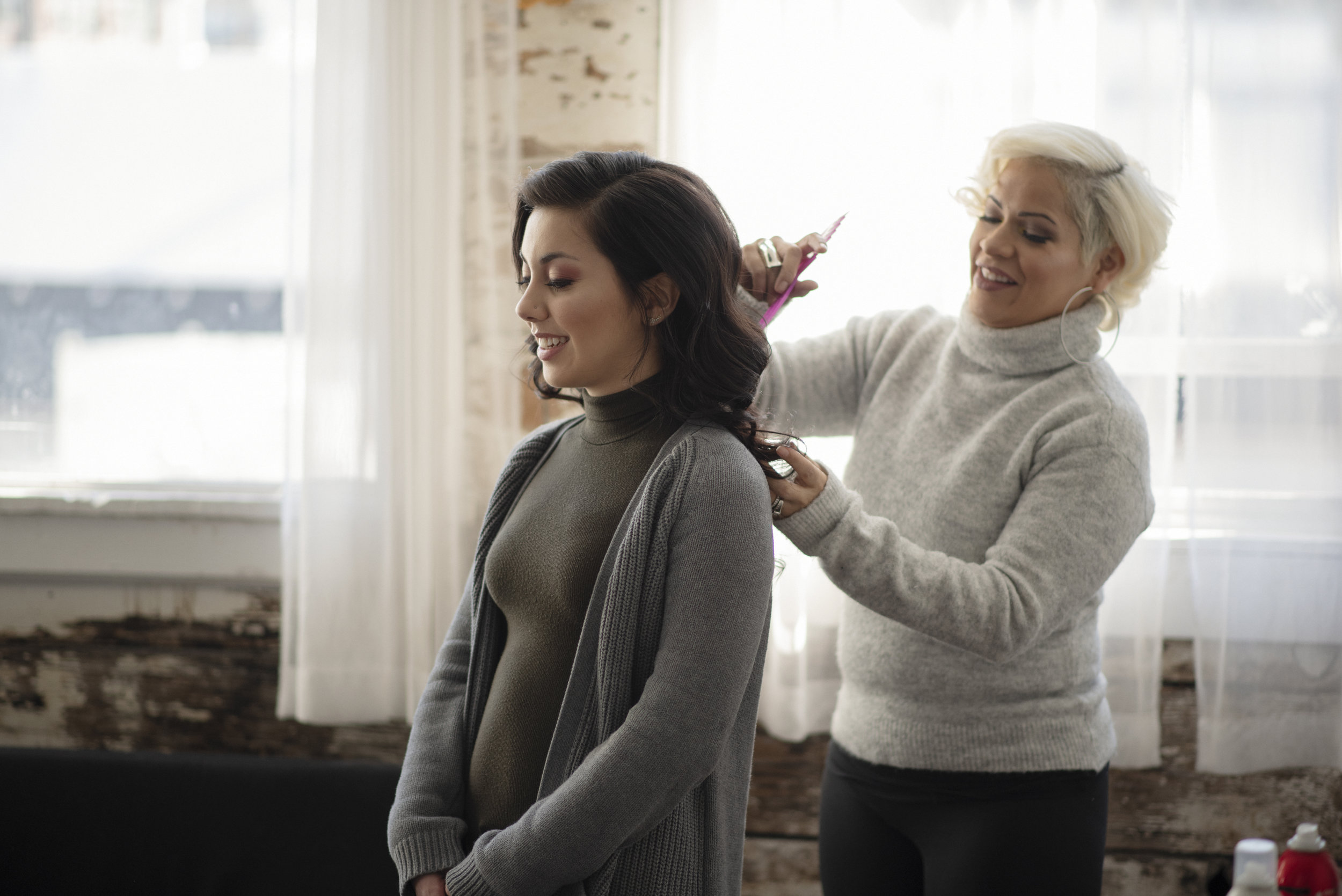 Stephanie getting some final hair touch-ups from Magali, who is an insanely talented hair stylist!