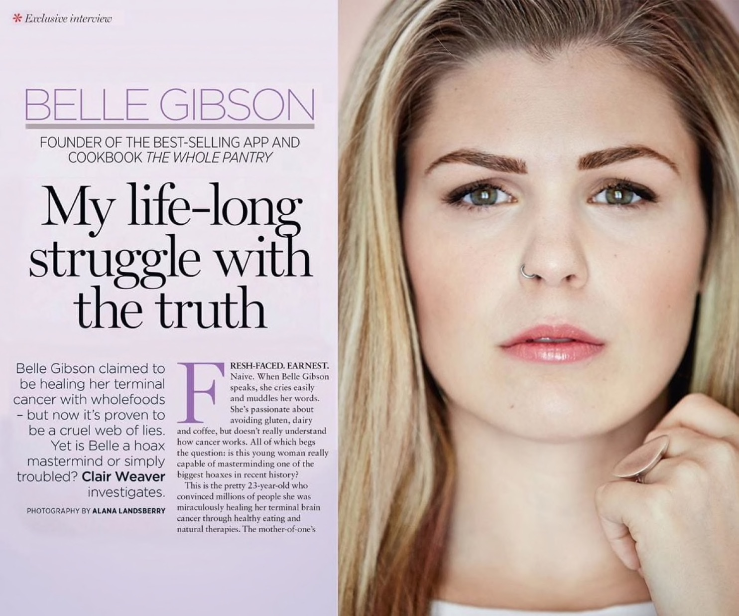 Belle Gibson was ousted as a fraud and was fined by a Victorian court although she is yet to pay any, according to media reports. (Credit: Australian Women's Weekly)