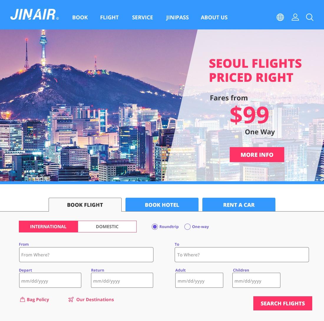 New JIN AIR homepage