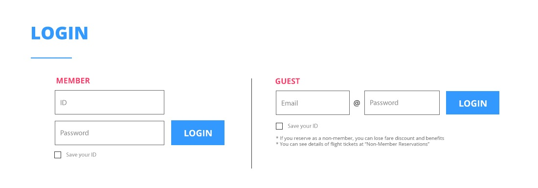 Simple login interface that allows customers to sign in with their ID or as guests. Disclaimer is included beneath the guest option, as there are consequences of not signing in as an official member of JIN AIR.