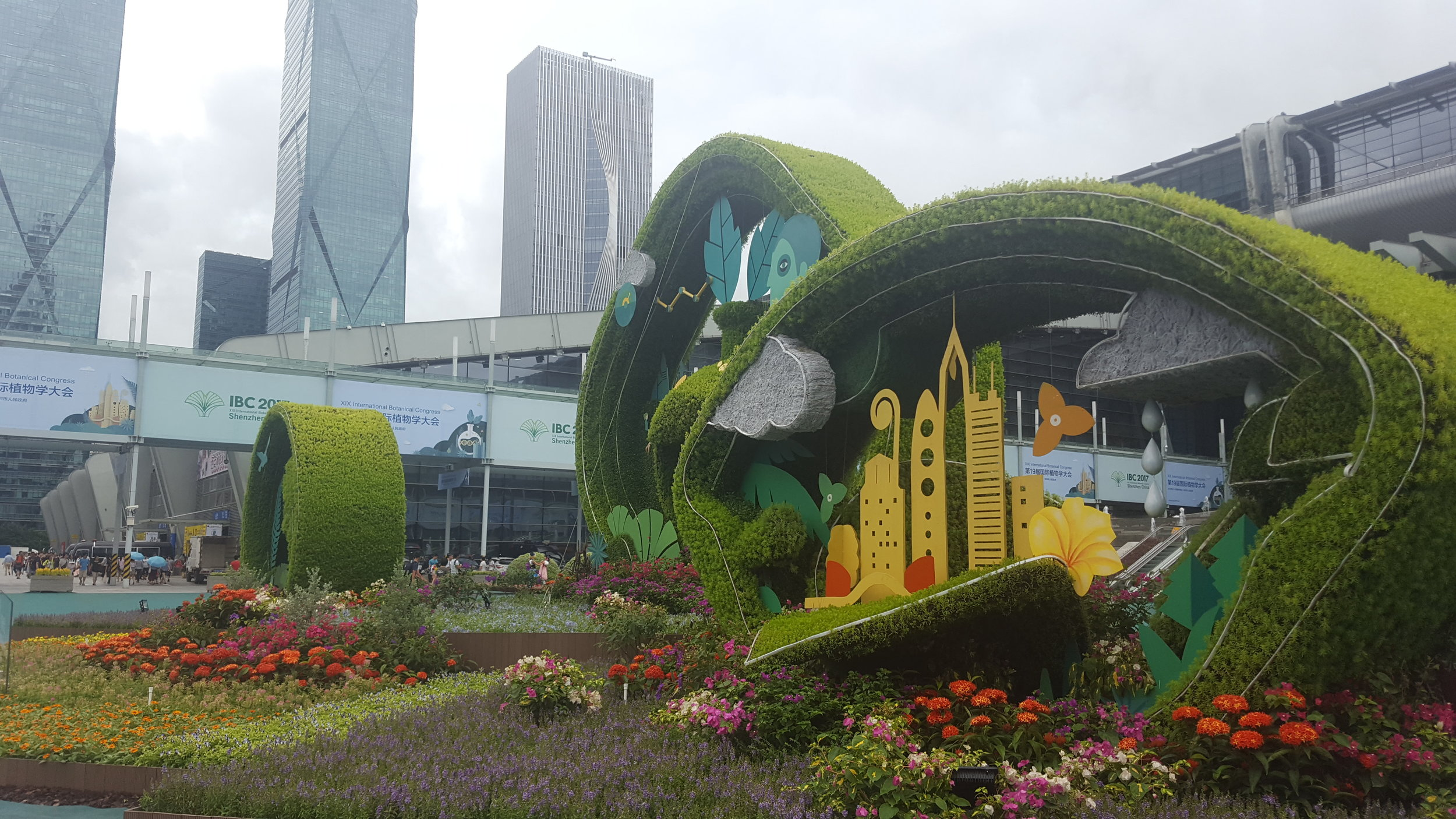 Amazing horticultural work and sculptures in front of the IBC!