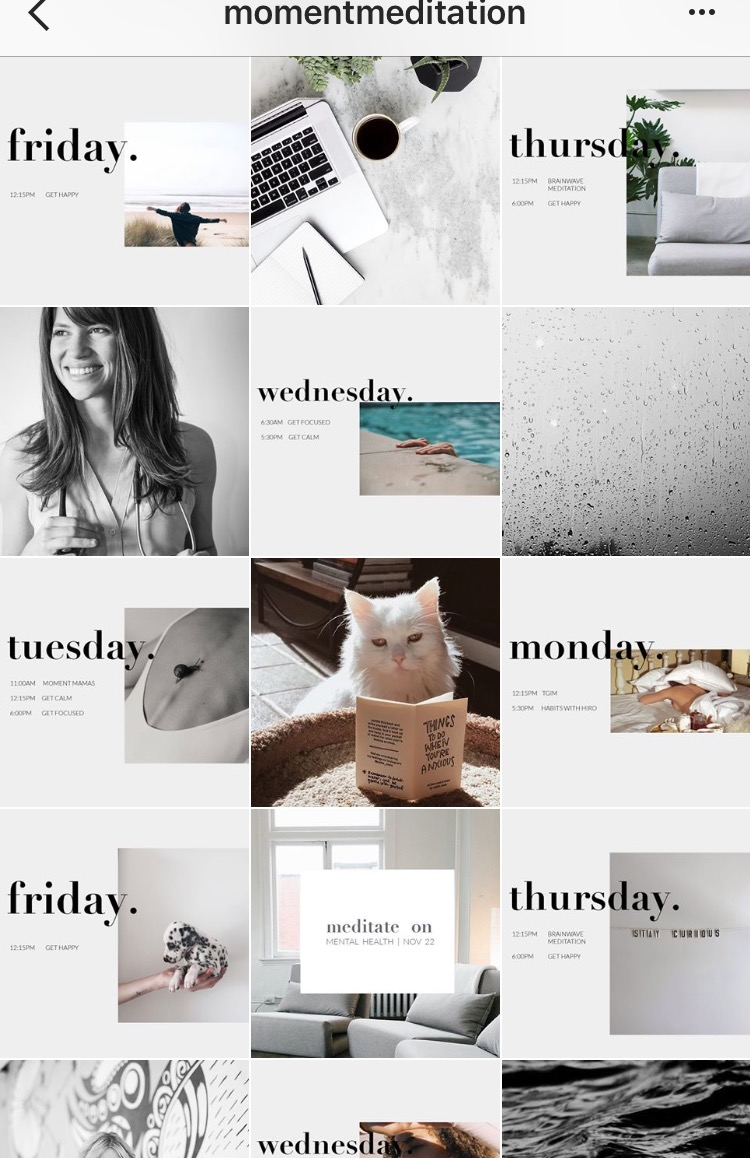 Moment Meditation mixes together soothing colours to keep a consistent Instagram feed. Get more tips like this on our Salt Design Co blog!