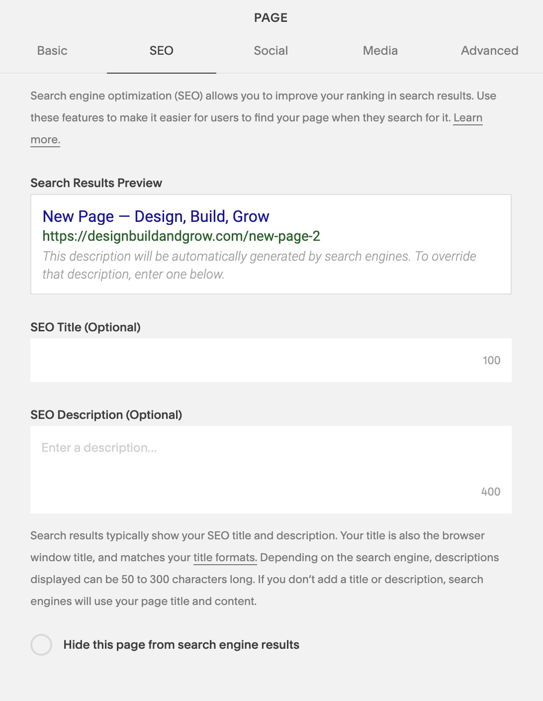 Screenshot of the SEO section of a page in Squarespace